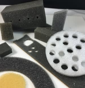 Many shapes and sizes of foam parts from Accurate Felt & Gasket