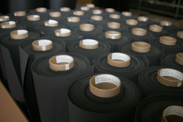 Many gray sponge foam rolls from Accurate Felt & Gasket